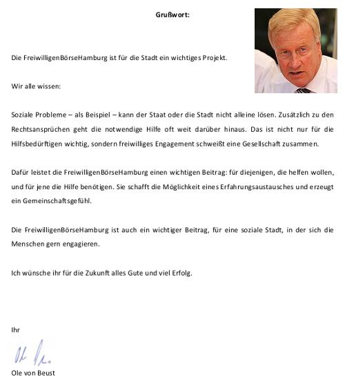 Grusswort von Bürgermeister a.D. Ole von Beust